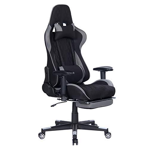 WOLTU Gaming Stuhl BS41gr Racing Stuhl Bürostuhl Chefsessel Schreibtischstuhl Sportsitz mit Kopfstütze und Lendenkissen, Armlehne verstellbar, mit Fußstütze, Stoff, höhenverstellbar, Grau