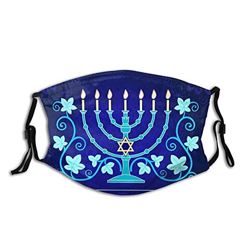 Hanukkah Menorah Jewish Face Mask , Washable Reusable Hanukkah Mask With 2 Filters For Adult Women & Men