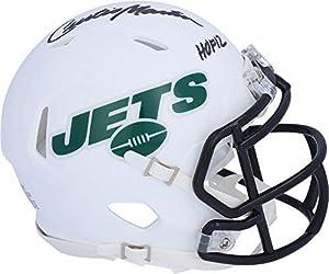 "Curtis Martin New York Jets Autographed Riddell Flat White Alternate Revolution Speed Mini Helmet with""HOF 12"" Inscription - Autographed NFL Mini Helmets"