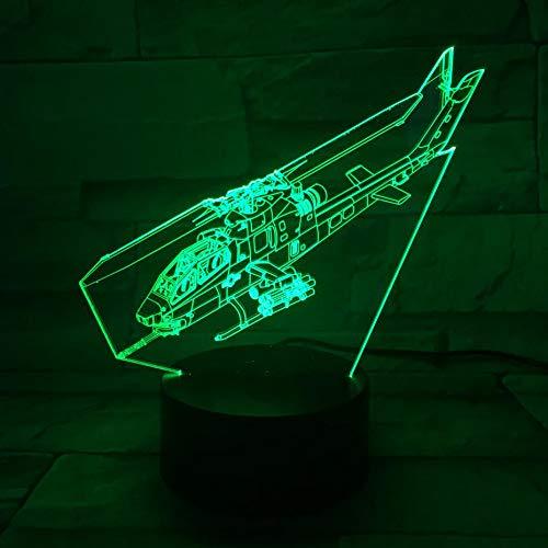 JYHW USB 3D LED nachtlampje AH-1 helikopter vliegtuig model illusie fighter decoratie Warplane tafellamp bedlampje