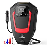 VacLife Air Compressor Tire Inflator, Auto Touchscreen DC 12V Air Pump for Car Tires, Bicycles and Other Inflatables, Portable Air Compressor with LED Light & 9.1 Ft Long Power Cord, Red