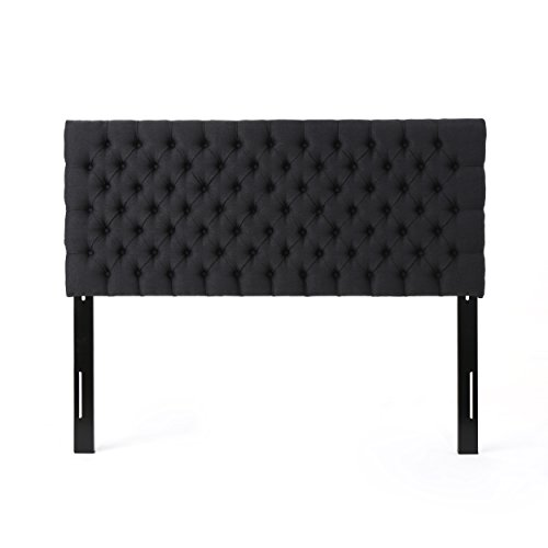 Christopher Knight Home 303580 Jezebel Fabric Headboard, Queen / Full, Dark Charcoal / Black Steel