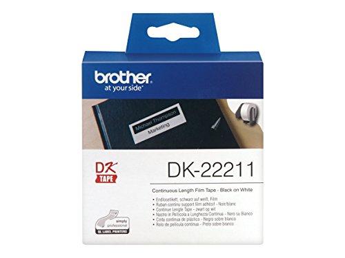 Brother DK-22211 Endlosetiketten Film (29 mm breit, 15,24 m lang, für QL-Etikettendrucker) schwarz auf weiß
