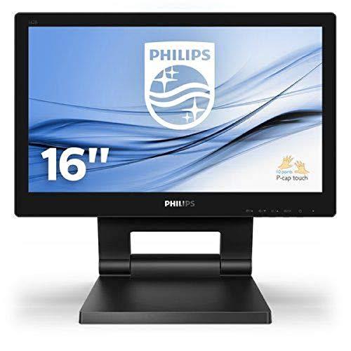 Philips 162B9T 39 cm (15.6 Zoll) Touch Monitor (VGA, HDMI, DVI, USB-Hub, DisplayPort, Full-HD, 10 Punkt Multitouch kapazitiv) schwarz