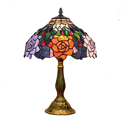 XCUGK 18 Pulgadas Vintage Pastoral Rosa Vidrieras de Colores Estilo Lámpara de Mesa Lámpara de Dormitorio Lámpara de Noche, Base de Aluminio para Decoración Lluminación Interior