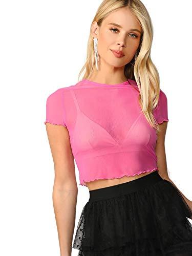 Romwe Women's Sexy Glitter Sheer Mesh Short Sleeve Crop Blouse Top Hot Pink# Medium