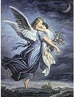 ナンバーキットでペイント子供大人のためのDIY油絵ブラシとアクリル顔料で初心者リトルエンジェル妖精の女の子の家の装飾40x50cm