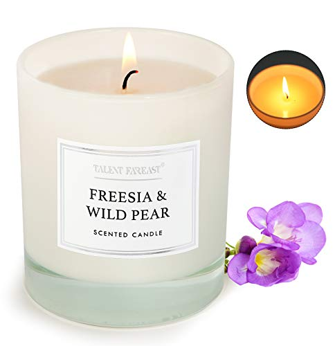 Freesia and Wild Pear Scented Jar Candle for Home 8.8oz Relaxing Soy Wax Candles for Men and Women Aromatherapy 45H Long Lasting