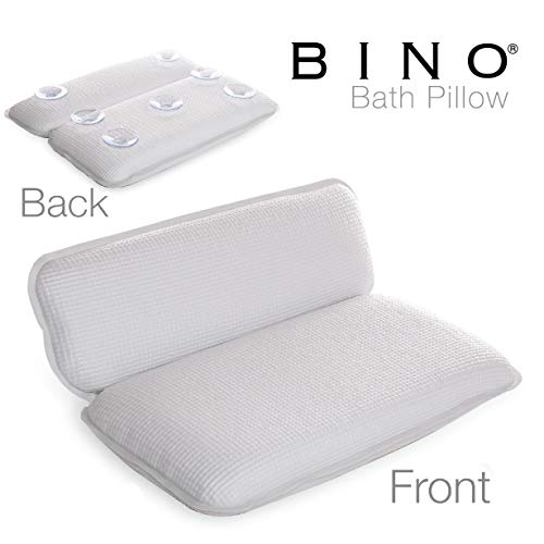 BINO Non-Slip Cushioned Bath Pillow With Suction Cups, White - Spa Pillow...