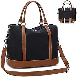 CAMTOP Women Ladies Weekender Travel Bag Overnight Carry-on Duffel Tote Luggage (Black -1)
