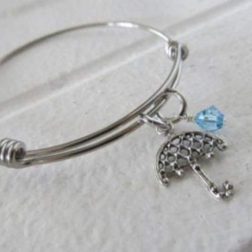 Hand-Stamped Bangle Bracelet Umbrella charm choice of with your A surprise price is High quality realized