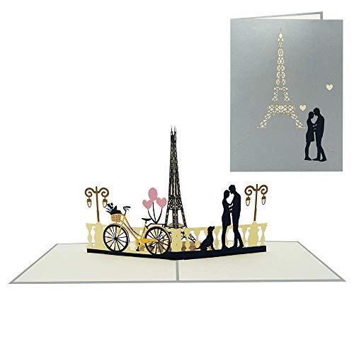 Pop Up Karte für Liebe Valentinstag Jahrestag Geburtstag Honeymoon Flitterwochen Gutschein Urlaub Reise Dating (Paar & Eiffelturm Paris 109)