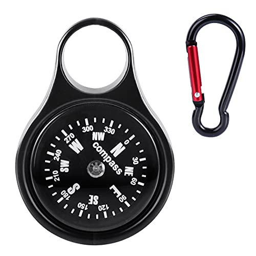 OYEFLY Portable Kompass Outdoor Wegweise Schlüsselhalter mit Kompass und Karabiner für Camping Wandern (schwarz)