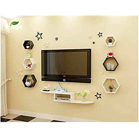 Wai Tv Entertainment Unit Wall Shelves Set Of 6 Shape Hexagon And A Set Top Box Stand Wall Mounted Home Decor Book Rack And Shelves For Bedroom And Living Room Stylish Attractive