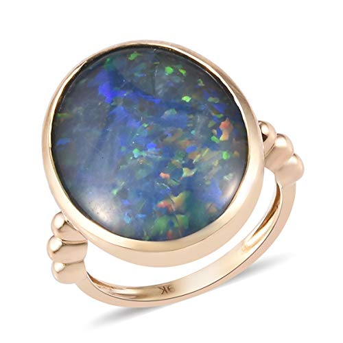 TJC Blue Opal Solitaire Ring for Women in 9ct Yellow Gold Christmas Gift/Engagement Jewellery Size R, TCW 8.5ct