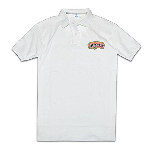 ENIDE Hombres Retro único San Antonio Spurs Logo Polo Camiseta