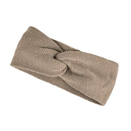 Neverless® Damen Stirnband Strick Winter Knoten Ohrenschutz Knite Headband Dunkelbeige