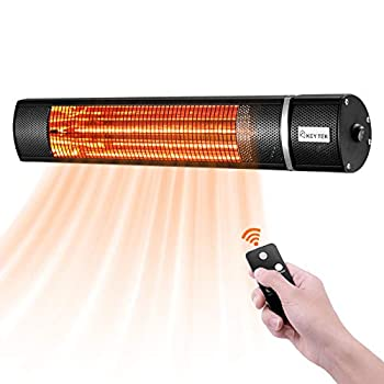 KEY TEK Wall-Mounted Patio Heater Electric Infrared Heater Indoor/Outdoor Heater Electric for Garage Backyard Wall Patio Heater Waterproof with Remote Control Golden Tube for Fast Heating Black