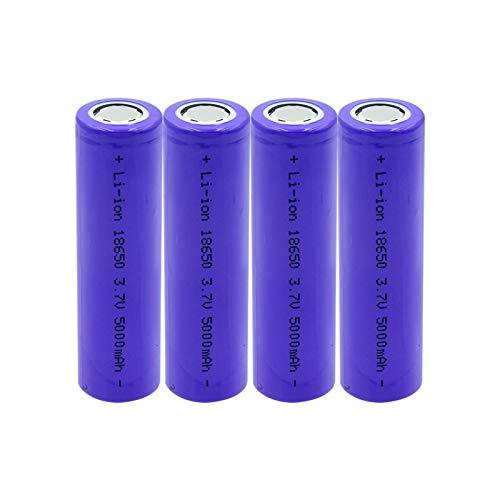 Moifer 4pcs Flat Top 18650 5000mah 3.7 v Wiederaufladbare Lithium-Batterie, für Taschenlampe Power Bank Stirnlampe Taschenlampe Funkkamera Fernbedienung Camera