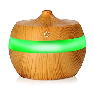 Ballylelly Ambientador de aire electrónico con difusor de aceite esencial de difusor de aceite de madera con 7 luces nocturnas que cambian de color