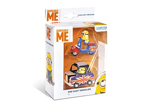 Mondo Motors - Pack da 2 Modellini Macchinine Giocattolo regalo per Bambini 3,4,5,6 Anni - Veicoli dei Minions collezionabili, Lambretta, London Cab, Vintage Van, Lucy car - 53200