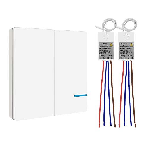 Funk Lichtschalter Set, Thinkbee Funkschalter mit Fernbedienung Lichtschalter EIN/AUS Lichtschalter Keine Verdrahtung erforderlich IP66 Wasserdichte Fernbedienung Ihre Lamps Außen 600M Innen 50M, B