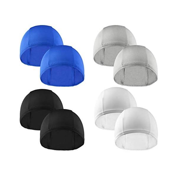 Yookat 8 Pieces Skull Cap Helmet Liner Sweat Wicking Skull Cap Cycling Skull Caps Helmet Liner for Men and Women Sports Running Cycling