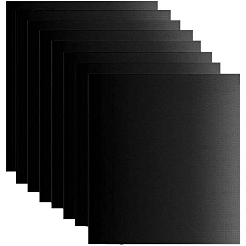 TaiCy Grill Mat Set of 8, BBQ Mats Non-Stick Reusable and Easy to Clean - Barbecue Baking Mat for Electric Grill Gas Charcoal BBQ, 16 x 13-Inch (Black)