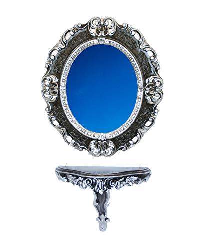 Idea Casa Set Consolle+spiegel ovaal zwart zilver vintage barok Luigi XVI