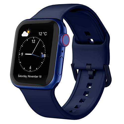 Adepoy Compatible with Apple Watch Bands 44mm 42mm, Soft Silicone Sport Wristbands Replacement Strap with Classic Clasp for iWatch Series SE 6 5 4 3 2 1 for Women Men, Midnight Blue 42/44mm