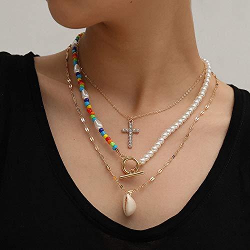 Sethain Boho En capas Collar Oro Criss Corto Cadena Perla Collares Con cuentas Multicapa Cadenas Joyería para mujeres y niñas