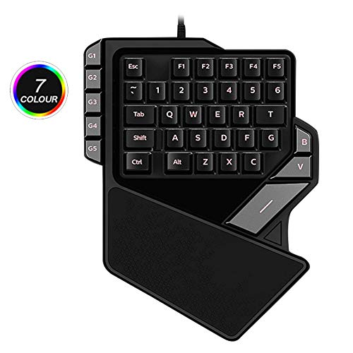 WYSSS Teclado con 7 colores de retroiluminación LED programable – Negro RGB iluminado, teclado de una mano, 38 teclas (interruptor azul) profesional USB Gaming Mini teclado