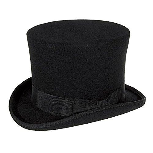 Express hoeden kwaliteit wol vilt topper hoed 6 inch kroon hoogte (satijn gevoerd)