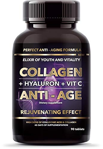 Collagen, Hyalurionic Acid, Vitamin C - Anti Aging Supplement. Perfect for Wrinkles and Joints. Pack of 90 Tablets.