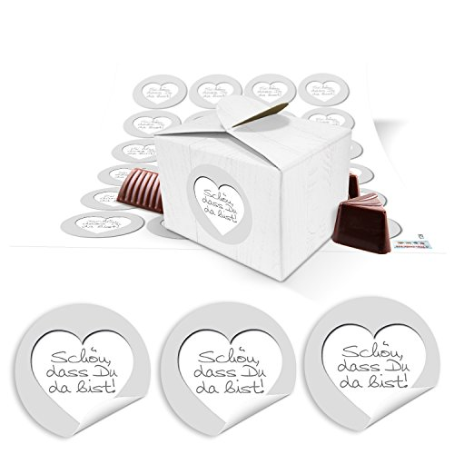 24 mooi das je daar bist geschenkdoos mini-doos geschenkdoos klein 8 x 6,5 x 5,5 cm + sticker grijs wit zilver verpakking tafeldecoratie gastgeschenk bruiloft feest cadeau-away