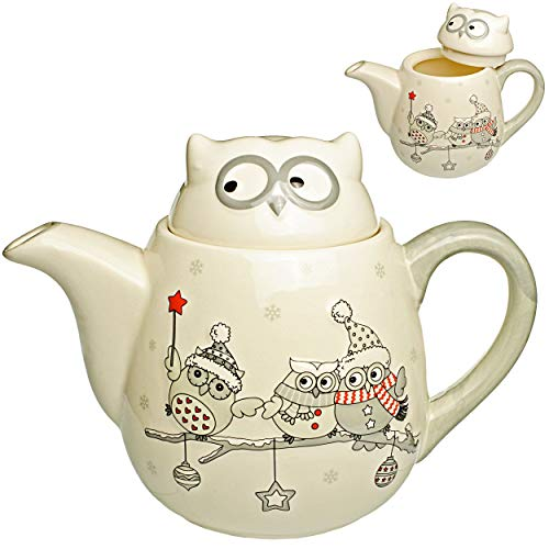 3D Design - Teekanne / Kaffeekanne - lustige Eulen im Winter - mit Deckel & Henkel - 1 Liter - weiß edel - stabil aus Porzellan / Keramik - Kaffee Tee Milch /..