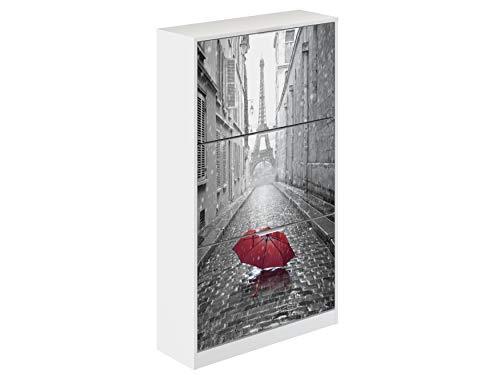 Movian Constance Modern - Armario zapatero de 3 puertas París, 25 x 75 x 128 cm (Impresión de París)