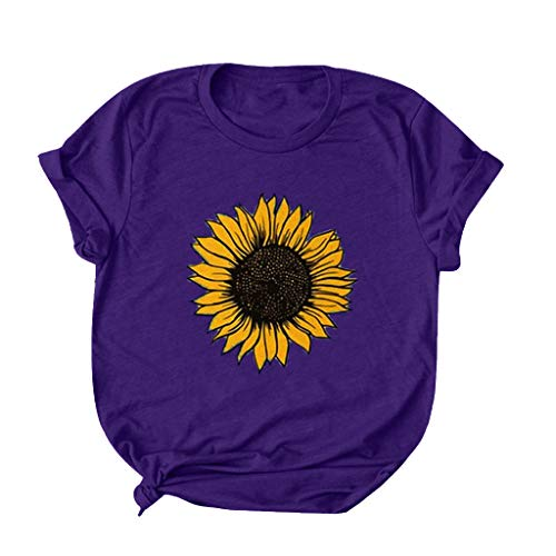 2020 Women Short Sleeve Sunflower T-Shirt Cute Funny Graphic Tee Teen Girls Shirt Top Summer Casual Blouse Tops D-Purple