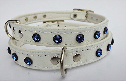 Lusy011 Exklusiv Hunde Halsband, Leder + Swarovski Kristallenin BLAU, Halsumfang 21-26cm, Weiß