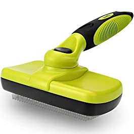 Pecute Slicker Dog Brushes,Self Cleaning Pet Grooming Brush- Removes 90% of Dead Undercoat and Loose Hairs,Suitable for Medium and Long Haired Dogs Cats