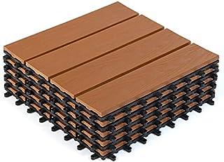 IDMarket - Lot de 5 Dalles de terrasse WODHY clipsables Bois Composite Effet Teck