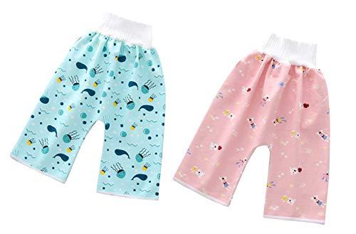 EOZY 2 Stück Baby Windelrockshorts Trainingswindelhose Trainingshose Windelhose Lernhose Kinder Shorts Töpfchen Set-1 M(0-4 Jahre)
