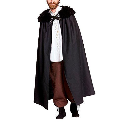 Elbenwald Kostüm Umhang mit Fellkragen im Stil der Nachtwache für Game of Thrones Fans schwarz