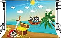写真撮影のためのHDオーシャントレジャーの背景ゴールドコイントレジャー海賊船の背景キッズパイレーツトレジャーのテーマパーティーの背景装飾小道具7x5ftHXMT074