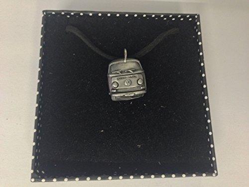 VW Typ 2Van (vorne) 3D Anhänger auf einem schwarzen Schnur Halskette handgefertigt 41cm & verstellbar ref313