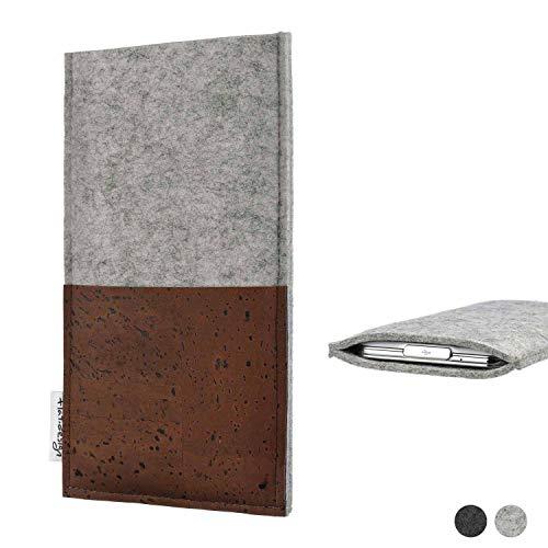 flat.design Handy Hülle Evora kompatibel mit BlackBerry KEY2 Red Edition maßgefertigte Handytasche Kork Filz Tasche Hülle fair