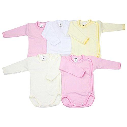 TupTam Unisex Baby Langarm Wickelbody aus Baumwolle 5er Set, Farbe: Mädchen, Größe: 68