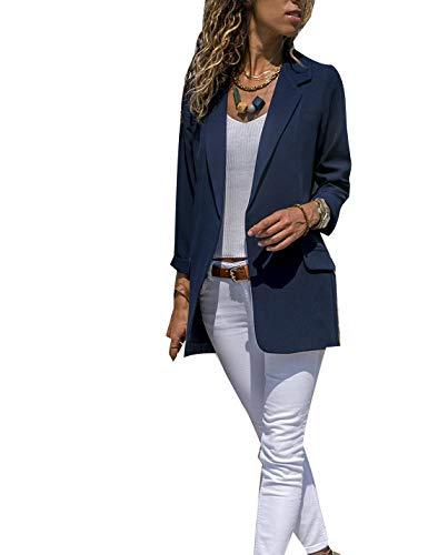 Chaquetas De Punto De Chaqueta De Oficina De Las Mujeres Manga Larga Chaquetas Blázer Outwear Azul Marino S