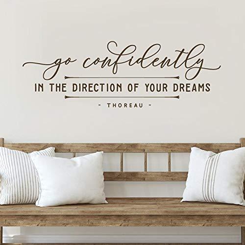 Sticker mural « Go Confidently in the Direction of Your Dreams » - Décoration murale inspirante - Décoration d'intérieur moderne