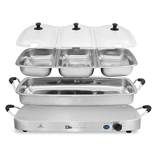 Maxi-Matic Deluxe Triple Buffet Server Food Warmer Party Tray, Oven-Safe Pan, Gravy & Holiday Essentials, 7.5 Quart, Stainless Steel